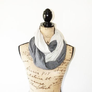 Grey and Cream Reversible infinity Scarf/ Nursing Shawl/ Nursing Cover/ Jersey Shrug/ Chunky Fall Neck Warmer/ New mom Gift
