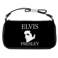 Elvis Presley Black And White Handbag Shoulder Bag Black Leather