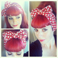 Red with White Polka Dots Vintage Style Hair Scarf Headwrap Hair Bow 1940s 1950s Rockabilly - Pin Up - For Women, Teens