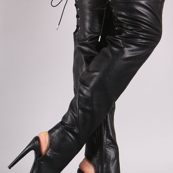Qupid Leather Peep Toe Over the Knee Boots