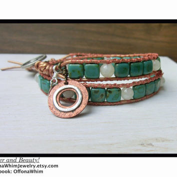 Copper Autumn Handmade Leather Wrap Fall Autumn Bracelet Green and Copper made in Japan by Off on a Whim
