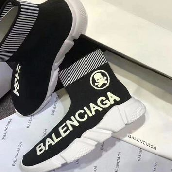Balenciaga Fashion Casual Women Men Stretch Fabric Socks Boots Sport Shoe Black I