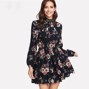 Floral Autumn Women Dresses Multicolor Elegant Long Sleeve High Waist A Line Chic Dress Ladies Tie Neck Dress designer clothes