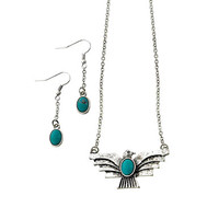 """antiqued silver and turquoise phoenix necklace and earring set at Joji Boutique: 1.75"""" wide antiqued silver bird with turquoise oval detail. Matching 1.25"""" drop earrings. 17"""" with 4"""" extender chain. Lobster clasp.  #jewelry #joji #fashion #gifts"""