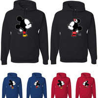 Matching Couples Kissing Mickey Mouse and Minnie Hoodies Sweatshirts Disney Wedding