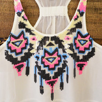Sugar Nova Tribal Embellished Racerback Tank White