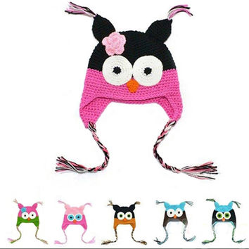 New Cute National Style Cartoon Multicolor Infant Toddler Handmade Knitted Crochet Baby Owl Hat With Ear Flap Animal Cap LL0156