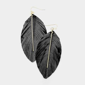 Leather Leaf Bar Earrings