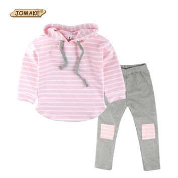 Classic Striped Baby Girl Clothing Set Spring Retail 2Pcs Hooded Sweatshirts+Leggings Pants Girls Clothes Sets Casual Kids Suits