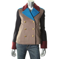 Marc by Marc Jacobs Womens Wool Colorblock Pea Coat