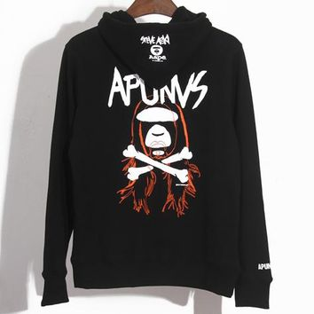 Aape × Steve Aoki co-branded fashion men's and women's hooded sweater Black