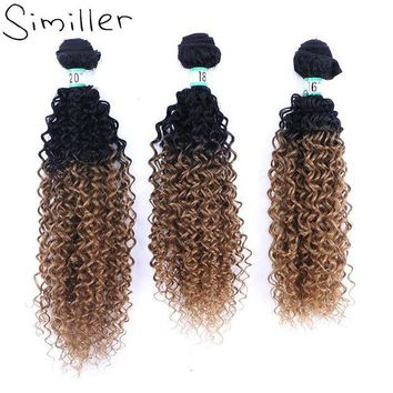 LMF78W Similler Ombre Black T 27 Heat Resistant Synthetic Hair Weft Bundles Curly Weaving Hairpiece For Women Extensions 210g