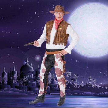 DCCKH6B Hot Sale Halloween Costume For Adult Men Cowboy Fancy Dress Costume New Style