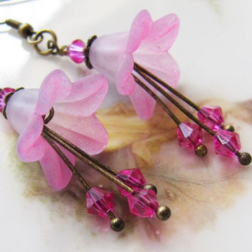 Pink flower earrings - vintage style earrings - dangle - long - summer - romantic - Europe