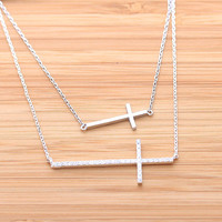 BIG SIDEWAYS CROSS necklace with swarovski crystals, 2colors | girlsluv.it
