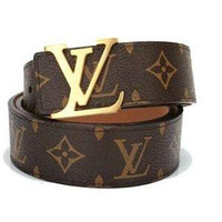 LV Belt (BROWN/GOLD) [Size: 34-38 inches]