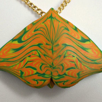Polymer Clay Butterfly Pendant on Chain
