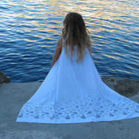 Luxurious beach cover up in white with silver embroidered finish handmade of cotton-voile NEW