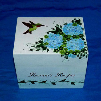 Custom Recipe Box Hand Painted Hummingbird Personalized Wood Recipe Box Wedding 4x6 Custom Wood Box Anniversary Gift Bridal Shower Gift