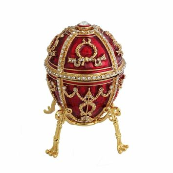 YAFFIL Jewelry Box Handcraft Red Vintage Egg Cases Rosebud Standing Box For Trinket Storage Luxury Jewellery Case Handmade