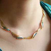 Signed Gold 1950s Swag Design Necklace With Aurora Borealis Crystals