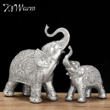 2Pcs/set Silver Polyresin Ornate Elephant Statue Lucky Miniatures Figurine Gift Ornaments Home Office Desktop Decoration Crafts