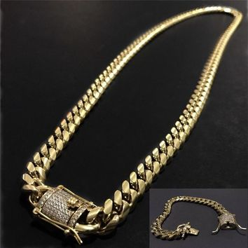 Men's Chain Gold Plated Solid Stainless Steel Necklace