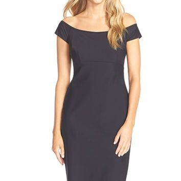 Women's Alex Evenings Off the Shoulder Scuba Sheath Dress,