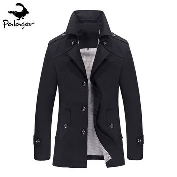 Palager Mens Overcoat Trench Coats Slim Autumn Fashion Men Pea Coats England Casual Male Jackets Coats Brand Clothing 8308