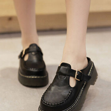 Black Cut Out Buckle Detail Seam Flatform PU Shoes