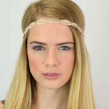 Hippi Style Headband, Boho Lace Headband, Stretch Lace Headband, Champagne hairband, lace headband, wedding headband, beaded headband