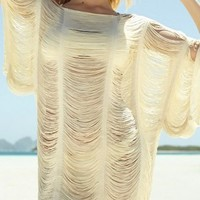 Sheer Strappy Batwing Swimsuit Cover Up One