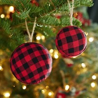 RED BUFFALO CHECK BALL ORNAMENT