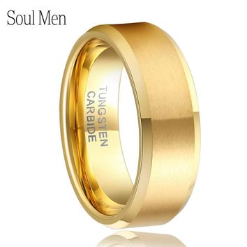 8mm Women Men's Gold Color Alliance Tungsten Carbide Wedding Band Ring for Bridal Jewelry Male Anillos Full Size 4 to 15 TU051R