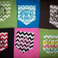 LONG SLEEVE Custom Boutique Monogrammed Pocket T-Shirt Chevron Personalized women sm-XL