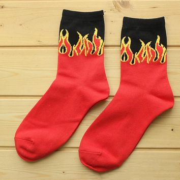 Hot Flame Sock Cotton Unisex Sports Socks 3 Pair