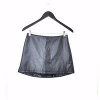 90s high waisted wet look mini skort / CLUB KID gun metal shorts skirt