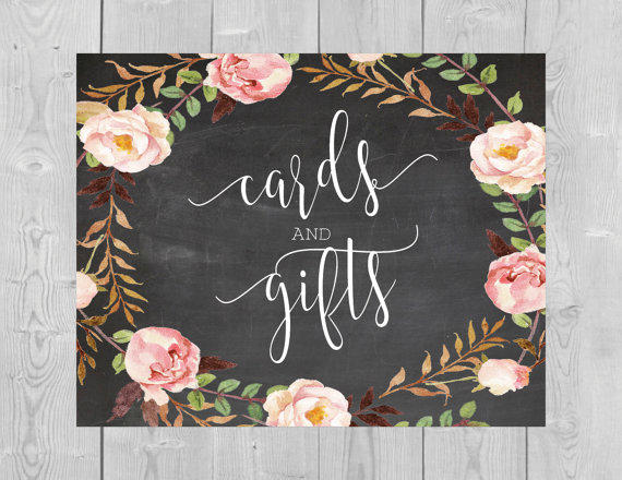 Printable Cards And Gifts Chalkboard Sign   Card And Gift Table