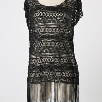 Wavy Pattern Short Sleeves Fringed Cover-Up