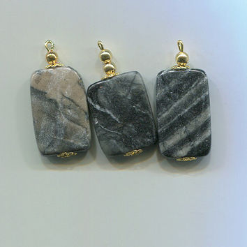 gemstone pendants stone charms marble gray and black jewelry charms 37mm long findings