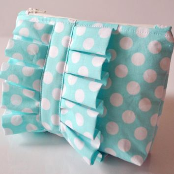 Cosmetics Make Up Pouch In Aqua Blue Dotty Ruffle UK Handmade | Luulla