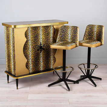 RARE-Vintage 50s 60s Leopard Cocktail Bar Stools Set Setup MCM Mad Men Hollywood Rat Pack Cheetah Wild Mid Century