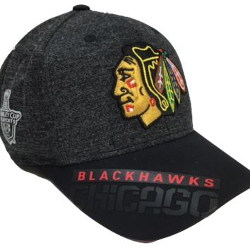 Chicago Blackhawks 2016 Stanley Cup Playoffs Center Ice Structured Flex Fit Hat With Playoff Patch By Reebok