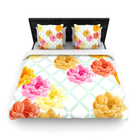 "Pellerina Design ""Trellis Peonies"" Yellow Flowers Fleece Duvet Cover"