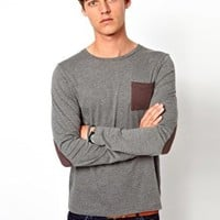 ASOS Long Sleeve T-Shirt With Contrast Pocket And Elbow Patches at asos.com