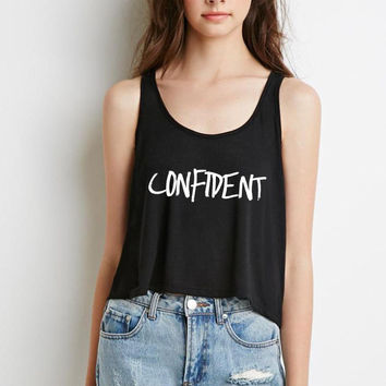"Justin Bieber ""Confident"" Boxy, Cropped Tank Top"
