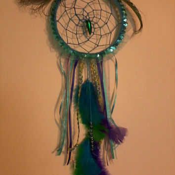 Dream Catcher- Mermaid- Hippie -Gypsi- Glow in the dark -peacock feathers
