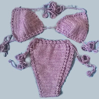 Hand Knitted Sexy Violet Crochet Bikini Top &Half Bottom,Beach Wear,Handmade Cotton yarn