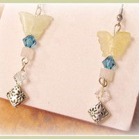 Prehnite Butterfly Drop Earrings with Turquoise Crystal