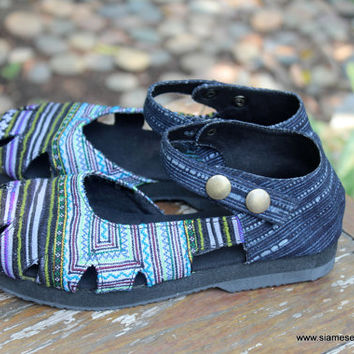 Womens Shoe Mary Jane Style In Hmong Embroidery And Indigo Batik Vegan Espadrille